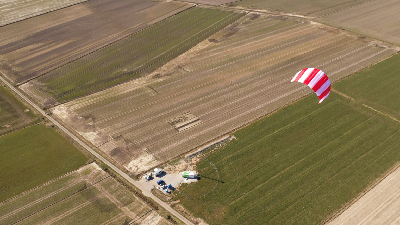 A power kite in an airborne wind energy system harvesting high-altitude wind.