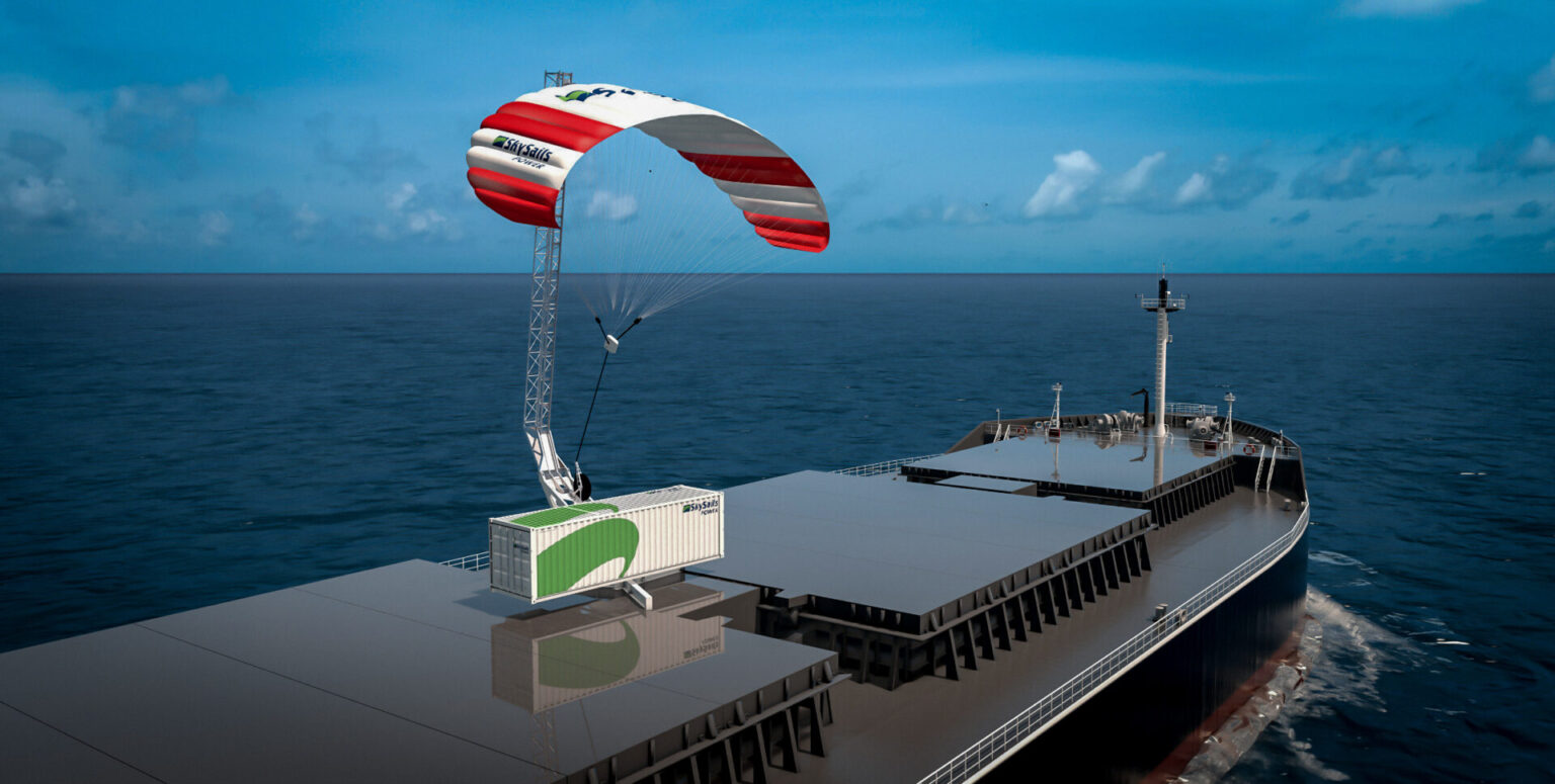 An airborne wind energy system installed on the deck of a cargo ship acts as an auxiliary power supply.